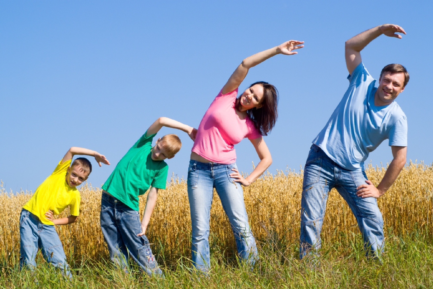 Зарядка с родителями в картинках